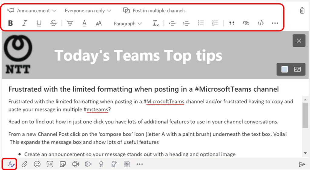 Advanced formatting in Microsoft Teams Chats